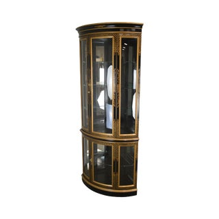 Jasper Black & Gold Chinoiserie Painted Bow Glass Corner China Curio Cabinet For Sale