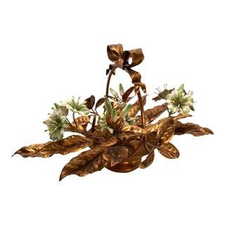 Vintage Italian Gilt Tole Flower Basket Centerpiece For Sale