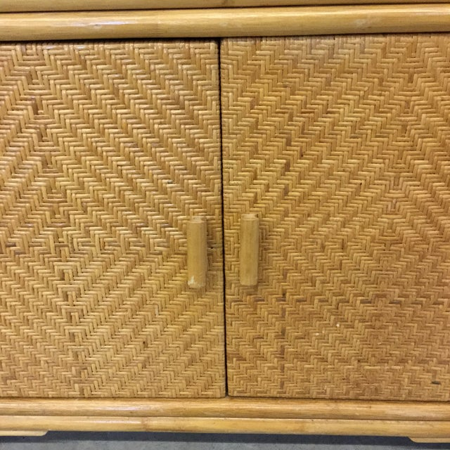 Vintage Bamboo & Wicker Floating Glass Top Credenza Buffet For Sale - Image 4 of 12