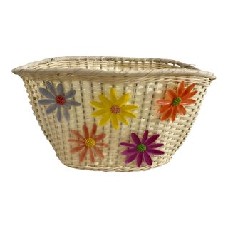 1960s Floral Bicycle Basket