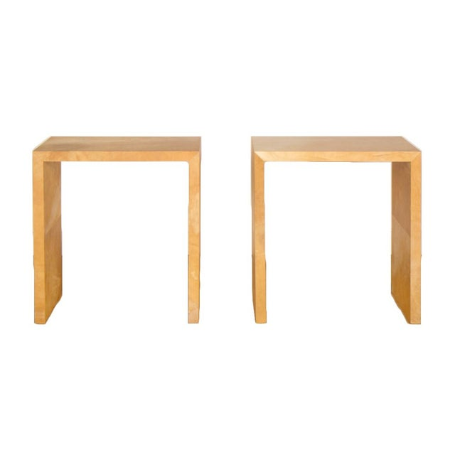 Paper Jean-Michel Frank Style Mid-Century Modern Parchment Console Tables - a Pair For Sale - Image 7 of 7