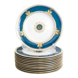 Wedgwood Raised Gilt & Powder Blue Porcelain Dinner Plates - Set of 12