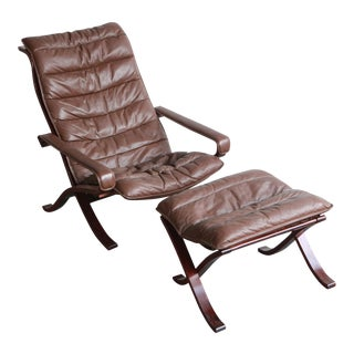 Vintage Mid Century Ekornes Lounge Chair and Ottoman For Sale