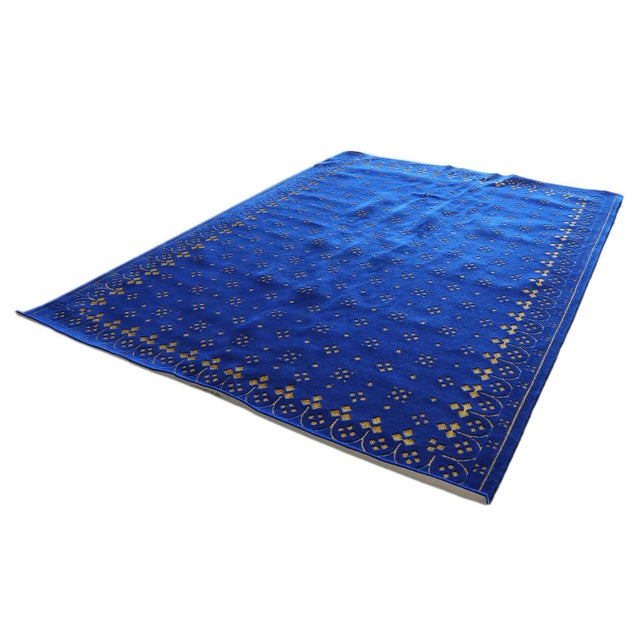 2010s Custom Blue & Gold Stark Area Rug- 8′ × 10′ For Sale - Image 5 of 13