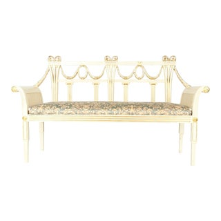 Vintage Neoclassical Style French Wood Settee / Bench For Sale