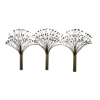 1977 C.Jere Signed Brass Trees Wall Sculpture For Sale