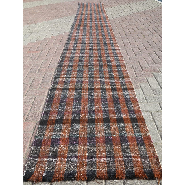 "Vintage Turkish Kilim Runner2'7'x18'6"" For Sale - Image 13 of 13"