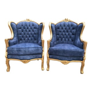 French Louis XVI Style Chairs/Bergeres - a Pair For Sale
