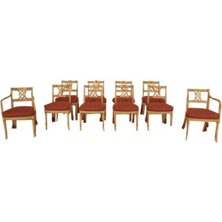 Regency Paint Decorated Dining Chairs- Set of 10 For Sale