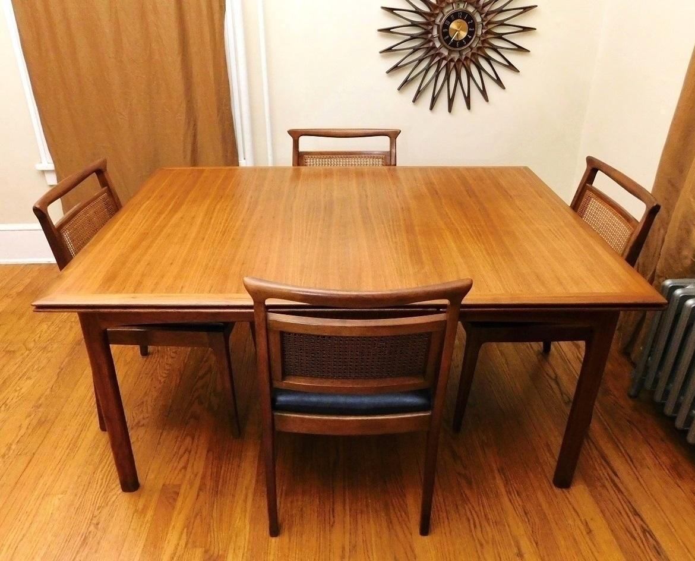 Mid Century Modern Rare John Stuart Teak Extendable Dining Table U0026 Chairs.  1960u0027s By