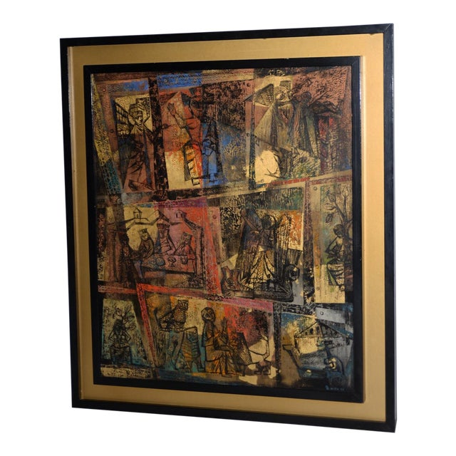 """1956 """"Memory of the Bronze Doors of San Zeno, Italy"""" Oil Painting by Gerda With For Sale"""