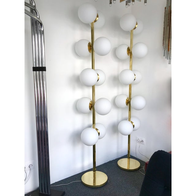Contemporary Brass Floor Lamps Opaline Ball, Italy For Sale - Image 11 of 13
