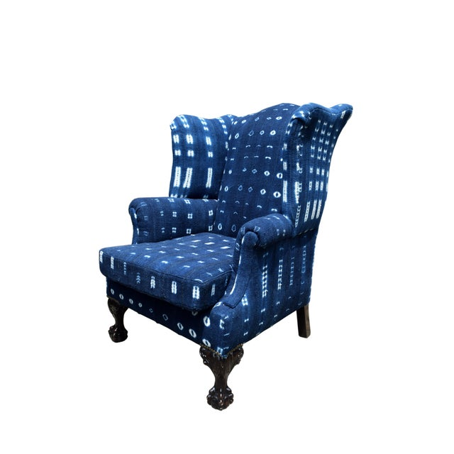 20th Century Georgian Style Indigo Wing-Back Chair For Sale - Image 4 of 4