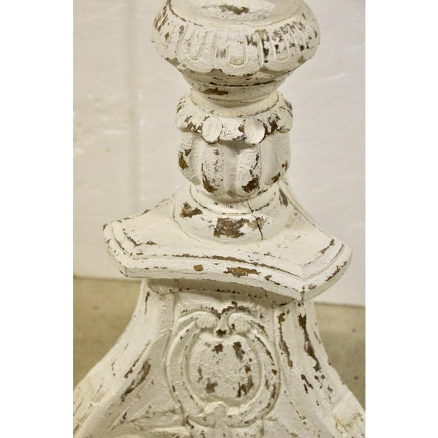 Shabby Painted White Floor Lamp For Sale - Image 4 of 7
