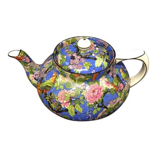 Crown Ducal Ware Chintz Blue Teapot 1920 For Sale