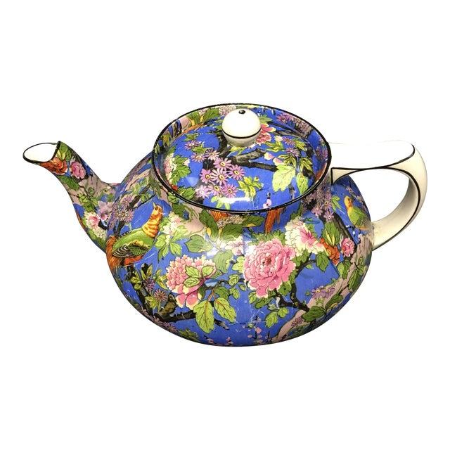 Crown Ducal Ware Chintz Blue Teapot 1920 For Sale