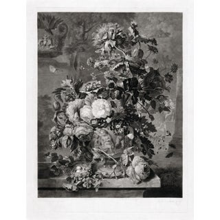 Black and White French Modern Floral Still Life Print For Sale