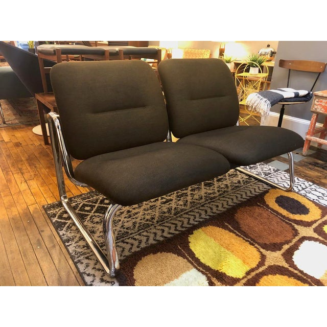 Mid-Century Modern Vintage Steelcase Tandem Bench/Loveseat For Sale - Image 3 of 12