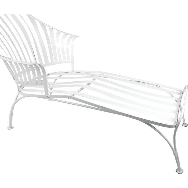 Mid-Century Modern Francois Carre Vintage Fan Back Patio Chaise Lounge For Sale - Image 3 of 11