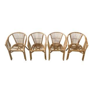 Boho Chic Julia Rattan Armchairs - Set of 4 For Sale