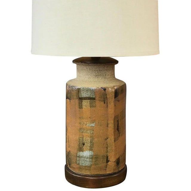 Signed Brent Bennett Glazed Stoneware and Walnut Table Lamp, 1960s For Sale - Image 13 of 13
