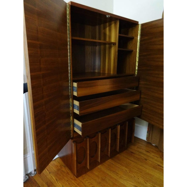 Mid Century Modern Paul Evans Brutalist Style Sculpted Walnut Gentleman's Chest / Armoire For Sale - Image 4 of 5