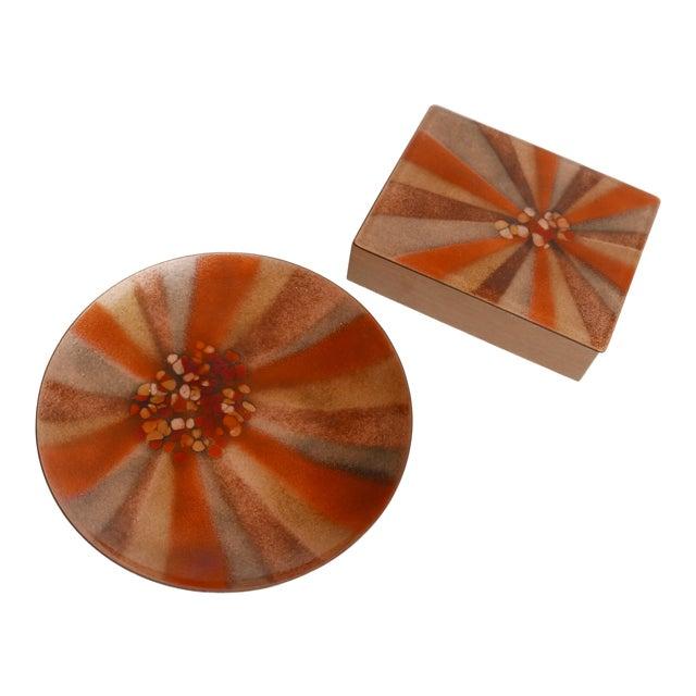 Design 'Bovano of Cheshire' Mid-Century Modern Enamel Over Copper Sunburst Design Tray and Box Set For Sale