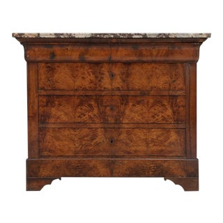 Antique Louis French Philippe Burl-Walnut Commode For Sale