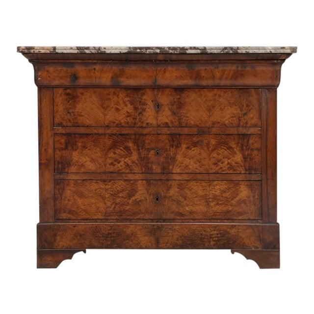 Antique Louis Philippe French Burl-Walnut Commode For Sale