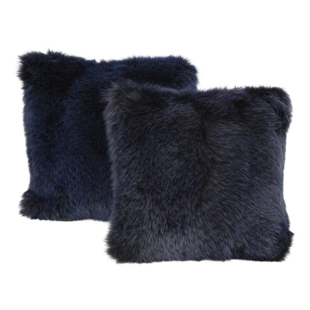Navy Fur Pillows - A Pair For Sale