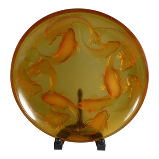 1920s French Rene Lalique Martigues Coy Fish Art Glass Shallow Bowl For Sale