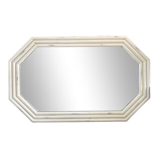 Vintage Oblong Octagonal White Bamboo Mirror For Sale