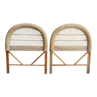 Vintage Twin Wicker Headboards - a Pair