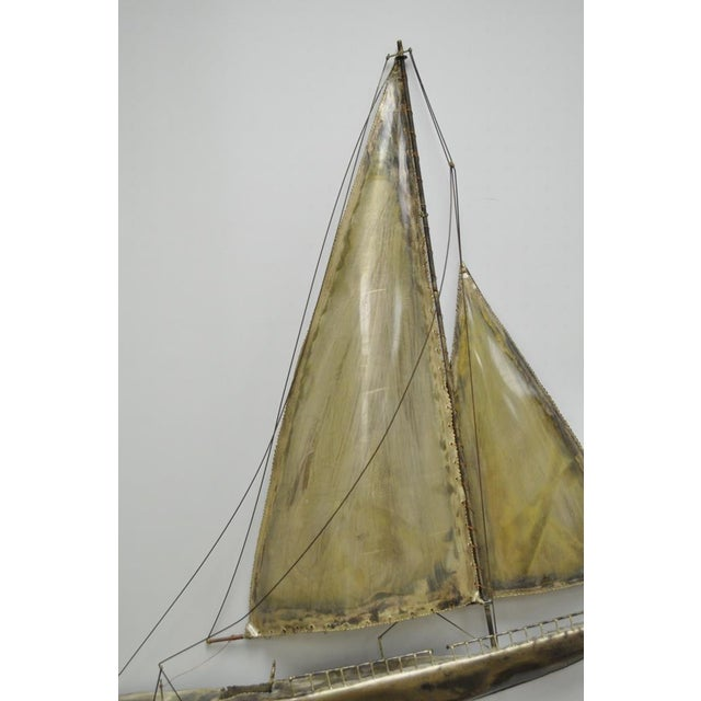 Vintage RaMan Brutalist Mid Century Modern Clipper Ship Wall Sculpture Jere Style - Image 6 of 11