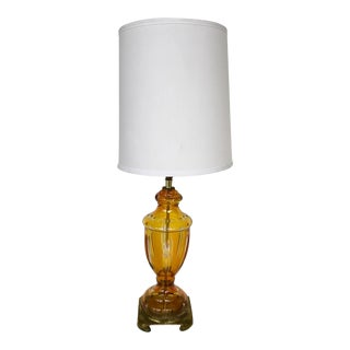 Bohemia Cut Glass Amber Table Lamp For Sale