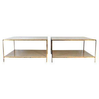 Brass & Travertine Side Tables - a Pair For Sale