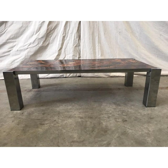Brown Mid-Century Tile Top Coffee Table With Chrome Frame For Sale - Image 8 of 8