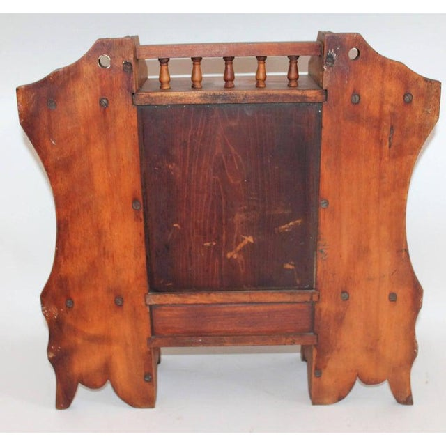 Brown 19th Century Pine Hanging Medicine Cabinet With One Drawer For Sale - Image 8 of 10