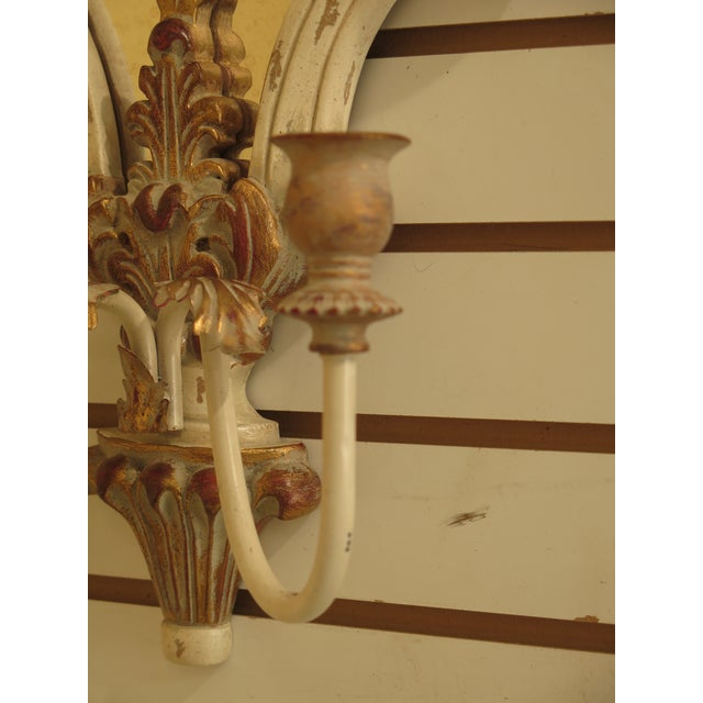 Metal Ethan Allen Venetian Mirrored Wall Sconces - a Pair For Sale - Image 7 of 11