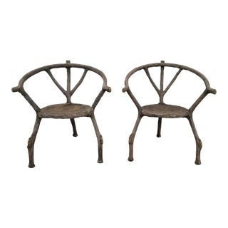 Edouard Redont Attributed Faux Bois Cement Chairs - a Pair For Sale