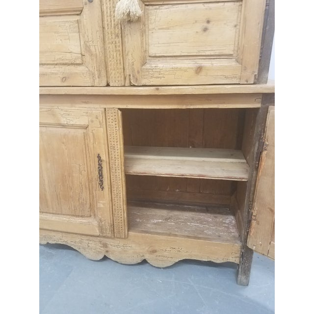 Yellow Primitive Antique Pine Cupboard - Made in France For Sale - Image 8 of 13