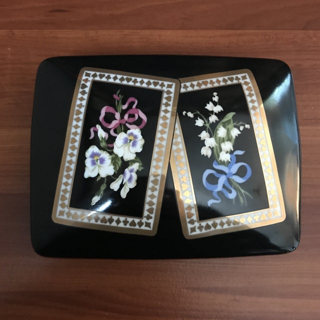Vintage Sybil Connolly Tiffany & Co Ceramic Floral Playing Card Holder Case For Sale - Image 11 of 11