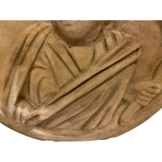 Brown Ancient Roman Carved Marble Roundel For Sale - Image 8 of 11
