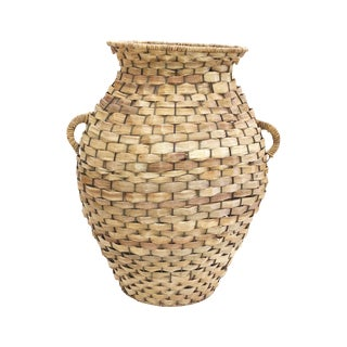 Woven Reed Decorative Large Basket For Sale