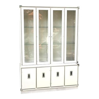 1970s Vintage Bernhardt Ivory Campaign China Cabinet For Sale