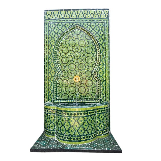 Metal Green Moroccan Tile Wall Fountain For Sale - Image 7 of 7