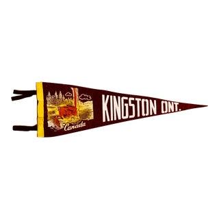 Mid 20th Century Vintage Kingston Ontario Canada Felt Pennant Flag For Sale