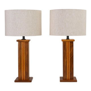 Pair of Studio Craft Lamps in Mixed Woods For Sale