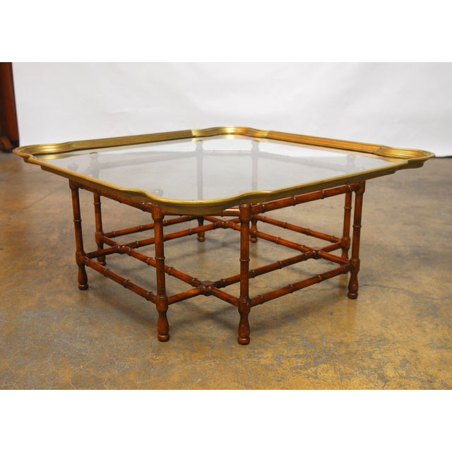 Baker Bamboo and Brass Tray Top Coffee Table - Image 3 of 10