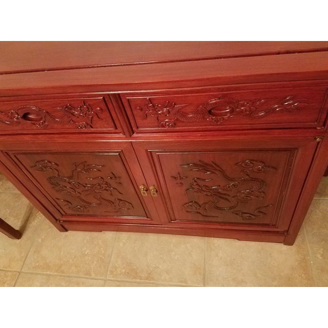 Asian Vintage Chinese Rosewood Imperial Dragon Credenza For Sale - Image 3 of 7